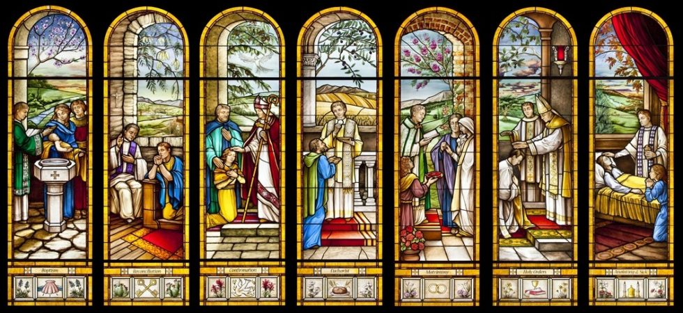 Stained windows in Holy Redeemer Catholic Parish in Texas